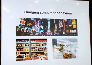 「Global Packaging Challenges to Achieve Sustainability」プレゼンの1カット